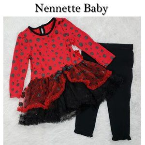 NEW Nannette Baby Red & Black Tutu 3 Piece Outfit